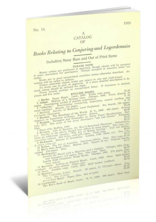 A Catalog of Books Relating to Conjuring And Legerdemain by Leo Rullman PDF